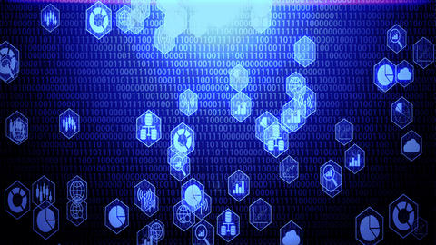 Big Data Icon Set in Hexagon Border Hovering on The Randoming Binary Code Background with Blue Animation