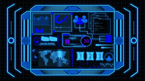 Screen With Blue Data Analysis Details including Loading bar, world map, cyber security, graph, Animation