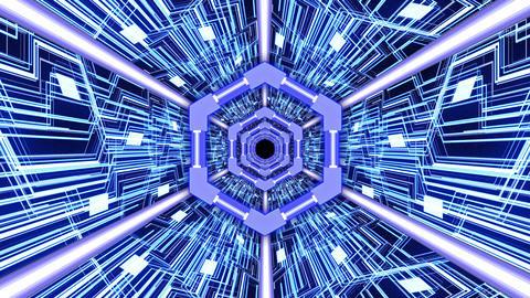 3D Abstract Digital Circuit System Tunnel with Hexagon Rings Borders in Blue Color Theme Background Animation