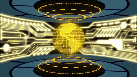 Futuristic 3D Digital Earth and Digital circuit in Golden Color theme laboratory Animation