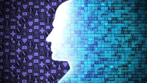 Futuristic AI/Human Head Computing and Thinking Medical Technology Icon Set HUD including Binary Animation