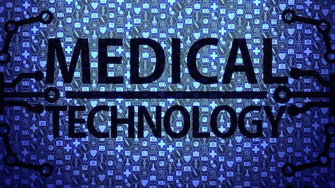 Medical Technology Big Picture Background HUD Composed of Medical Icons Set with Blue Light Animation