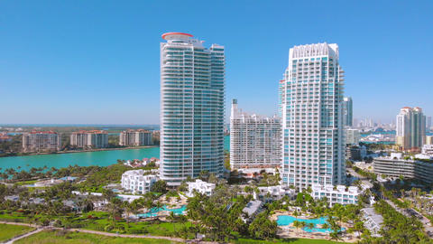 Aerial view of skyscrapers in Miami Beach. 4k shot Live Action