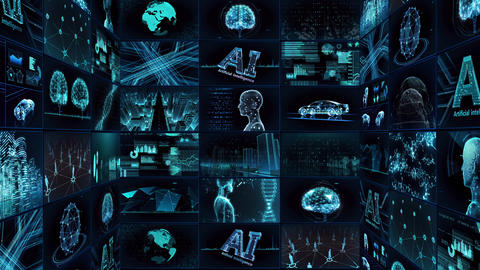 Digital Network Technology AI artificial intelligence data concepts Background TE1 3x3 blue Animation