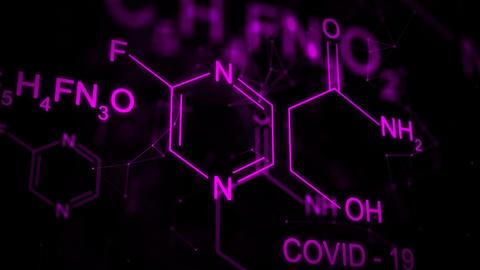 Favipiravir Chemical formula animation Videos animados