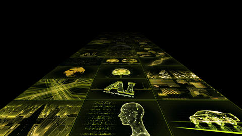 Digital Network Technology AI artificial intelligence data concepts Background YB1 3x3 yellow Animation