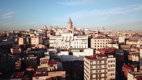 Galata Tower. Istanbul Turkey. Aerial View of Landmark and Tourist Attraction Live Action