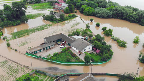 Ukraine. Galych 24 June 2020. People who are in a flooded house by a river that Live Action