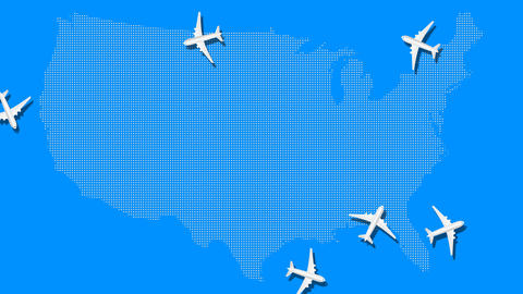 Airplane animation fly over around blue USA map Animation