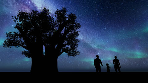 Silhouette family against stars. Happy family. Travel concept. People lifestyle Live Action