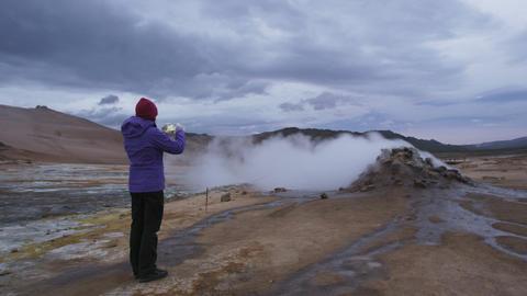 Iceland volcano mudpot hot spring landmark destination: Namafjall hverir Live Action