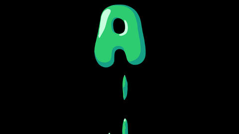 Flat gooey slimy letters typeface cartoon style animation snot flowing in with alpha A Animation