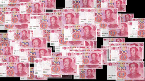 4k Float looming 100 RMB bills money wealth background Live Action