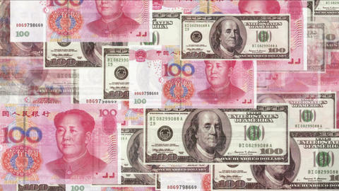 4k Float looming 100 dollar 100 RMB bills exchange rate money wealth background Live Action