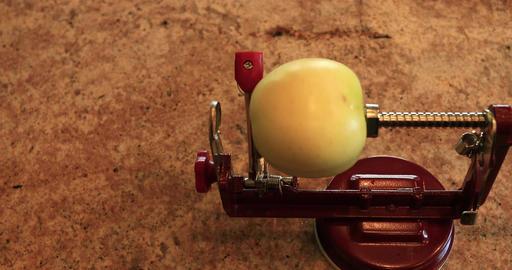Peeling green apple for homemade pie DCI 4K 708 Footage