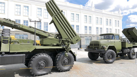 Missile launchers Grad. Pyshma, Ekaterinburg, Russia Footage