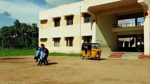 School Girls Walking home from school Near School Building,India Live Action