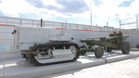 Tractor Stalinets-65 and howitzer-gun 152 mm. Pyshma, Ekaterinburg, Russia Live Action