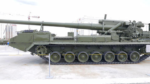 Soviet self-propelled artillery SAU -2S7 PEONY model 1970. Pyshma, Ekaterinburg, Footage