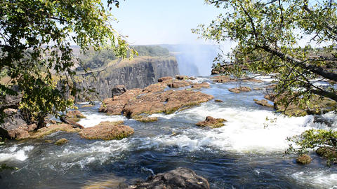 The Victoria Falls from Zambia side Footage