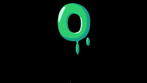 Flat gooey slimy letters typeface cartoon style animation snot flowing in with alpha 0 Animation
