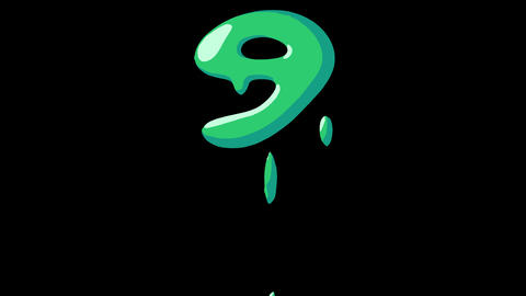 Flat gooey slimy letters typeface cartoon style animation snot flowing in with alpha 9 Animation