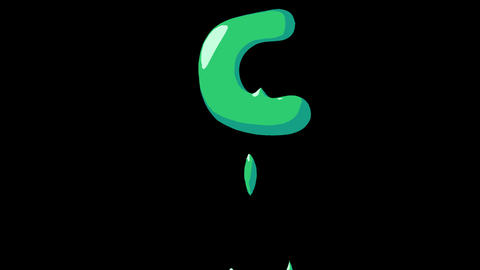 Flat gooey slimy letters typeface cartoon style animation snot flowing in with alpha C Animation
