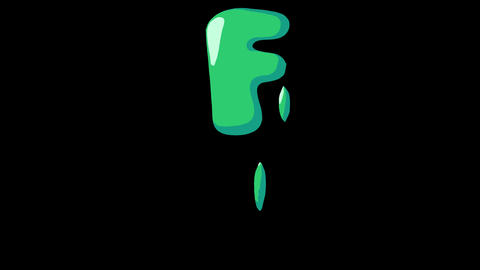 Flat gooey slimy letters typeface cartoon style animation snot flowing in with alpha F Animation
