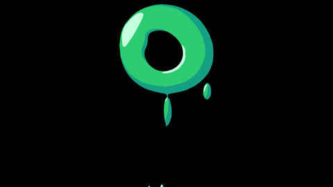 Flat gooey slimy letters typeface cartoon style animation snot flowing in with alpha O Animation