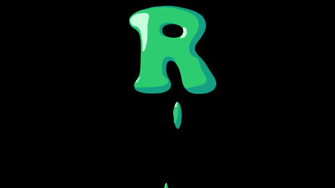 Flat gooey slimy letters typeface cartoon style animation snot flowing in with alpha R Animation