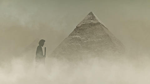 Moses and the Great Pyramid of Giza Under a Sandstorm Live Action