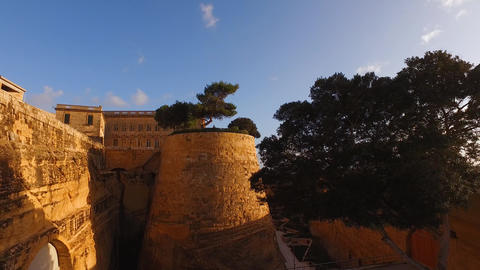 Malta, Valletta. Medieval stone fortification scenic, historical buildings Live Action