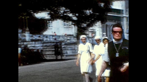 LOURDES, FRANCE 1974: Religious pilgrimage to Lourdes in the mid 70s Live Action
