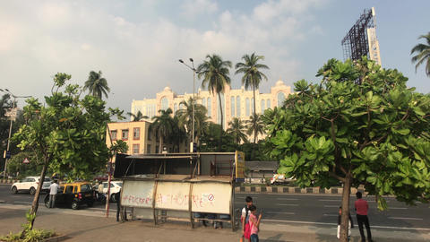 Mumbai, India - November 10, 2019: Marine Drive tourists stand at a public Live Action