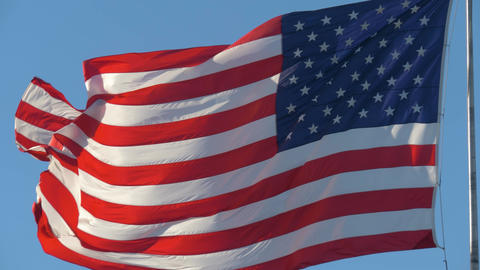 Close-up of an American flag flying in the wind Live Action