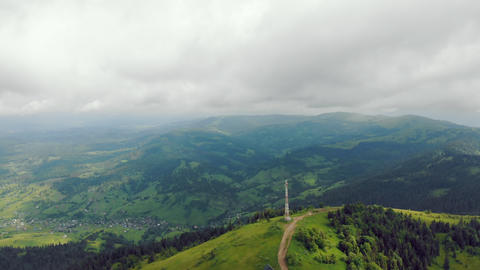 Aerial Drone View: Fabulous view of the Carpathian mountains in Ukraine. The Live Action