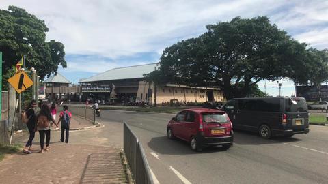 Matara, Sri Lanka, November 25, 2019, Old Tangalle Rd, tourists and transport on Live Action