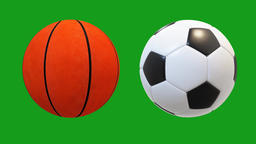 Turning basketball and football with green screen background Animation