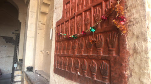 Jodhpur, India - beautiful wall with pattern in the old fortress Live Action