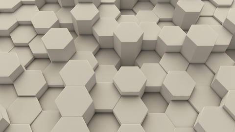 Moving irregular white hexagonal tiles background loop Animation
