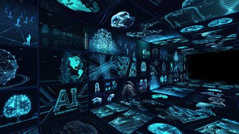 Digital Network Technology AI artificial intelligence data concepts Background C Yo-Ta B1 3x3 blue CG動画