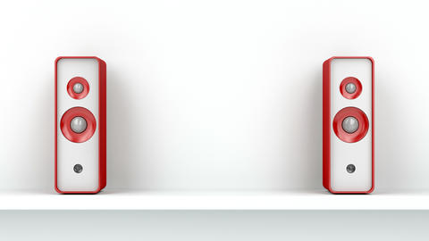 Red stereo speakers on shelf Animation