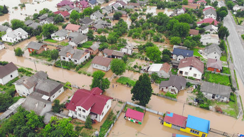 Environmental disaster and climate change. Aerial view river that flooded the Live Action