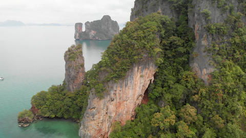 Thailand archipelago, aerial view. Beautiful islands in Krabi province as seen Live Action