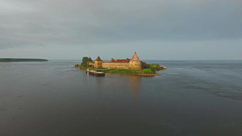 Aerial view on fortress Oreshek in Neva river Footage