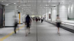 Time-lapse of pedestrians walking in Shinjuku underground passageway, Tokyo, Jap Footage