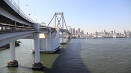 View of Rainbow Bridge and Tokyo cityscape in the background, Tokyo, Japan Footage