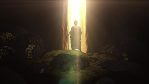 Moses Standing in Front Pillar of Fire in the Desert Live Action