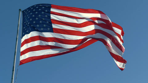 American Flag Waving In United States Of America Live Action