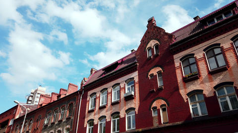 Old historical residential building in Kaliningrad, Russia Live Action